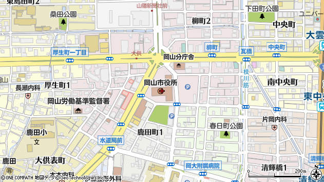 岡山市周辺の地図