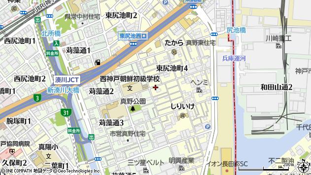 兵庫県神戸市長田区東尻池町周辺の地図
