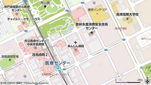 兵庫県神戸市中央区港島南町1丁目周辺の地図