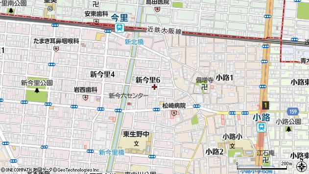 大阪府大阪市生野区新今里6丁目周辺の地図
