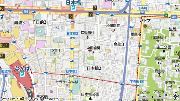 大阪府大阪市中央区日本橋2丁目周辺の地図