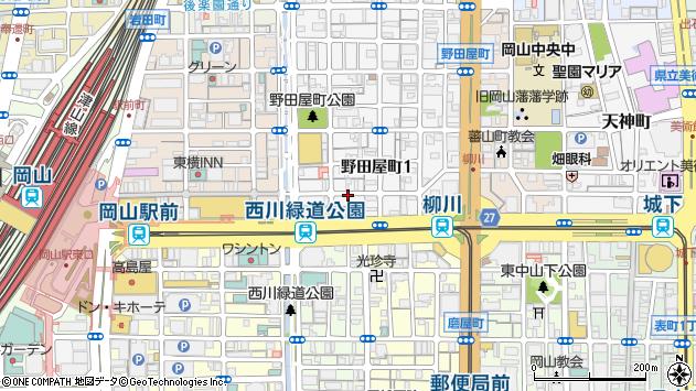 岡山県岡山市北区野田屋町1丁目周辺の地図