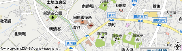 愛知県田原市周辺の地図