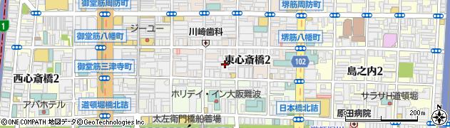 大阪府大阪市中央区東心斎橋2丁目6周辺の地図