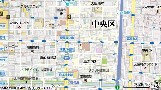 大阪府大阪市中央区島之内周辺の地図