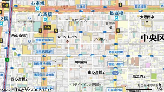 大阪府大阪市中央区東心斎橋1丁目15-24周辺の地図