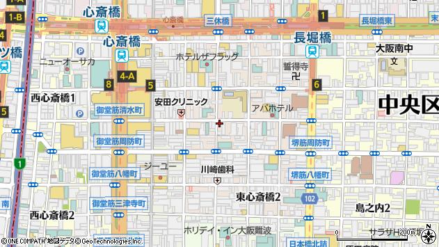 大阪府大阪市中央区東心斎橋1丁目15-25周辺の地図