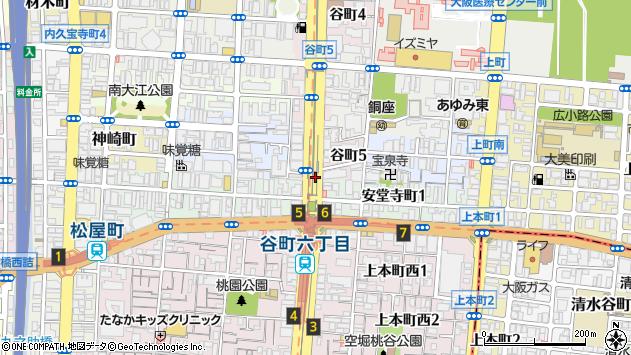 大阪府大阪市中央区谷町5丁目周辺の地図