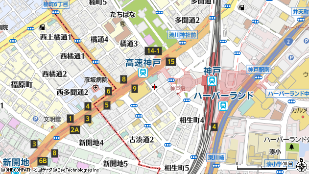 兵庫県神戸市中央区下山手通 住所一覧から地図を検索