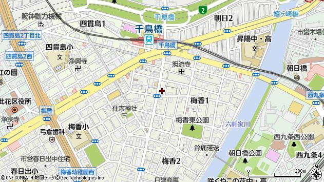 大阪府大阪市此花区梅香周辺の地図