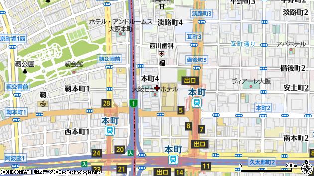 大阪府大阪市中央区本町周辺の地図