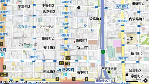 大阪府大阪市中央区備後町1丁目7-10周辺の地図