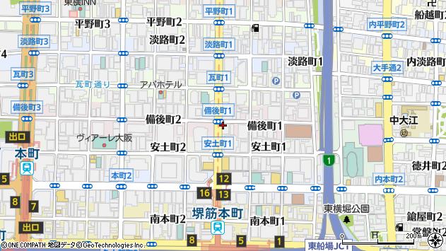 大阪府大阪市中央区備後町1丁目7-6周辺の地図