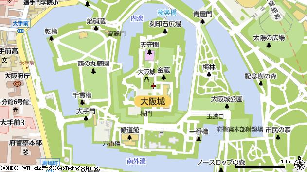 大阪府大阪市中央区大阪城1周辺の地図