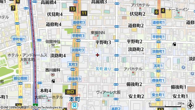 大阪府大阪市中央区淡路町3丁目周辺の地図