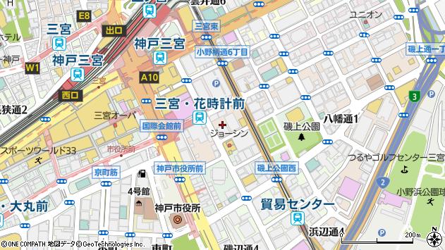 兵庫県神戸市中央区磯上通7丁目1周辺の地図