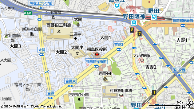 大阪府大阪市福島区周辺の地図