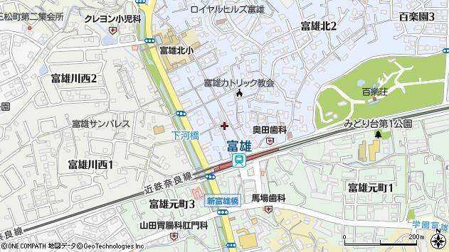 奈良県奈良市富雄北1丁目周辺の地図