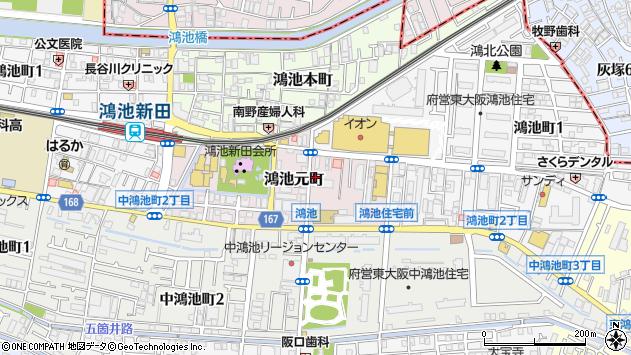 大阪府東大阪市鴻池元町周辺の地図