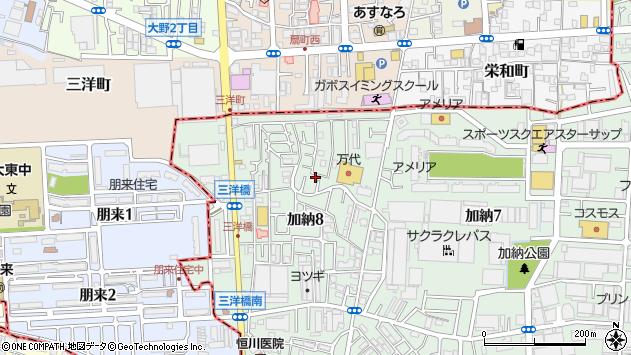 大阪府東大阪市加納8丁目周辺の地図