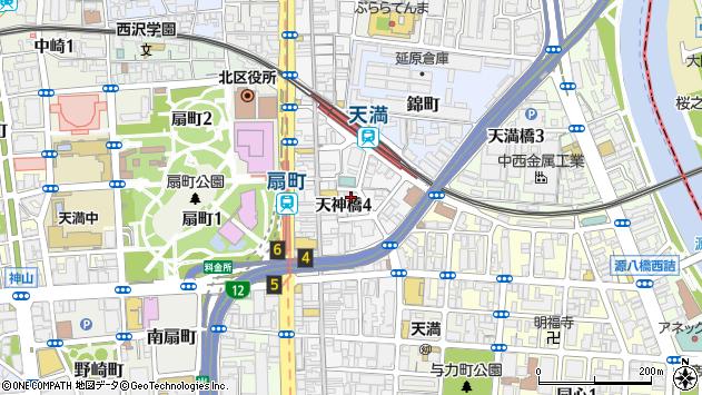 大阪府大阪市北区天神橋4丁目周辺の地図