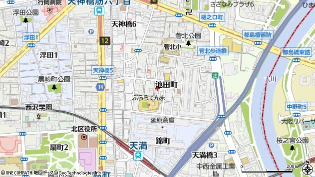 大阪府大阪市北区池田町周辺の地図