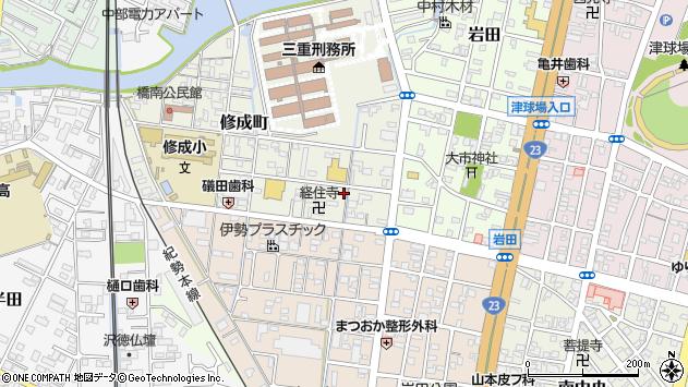 三重県津市修成町周辺の地図