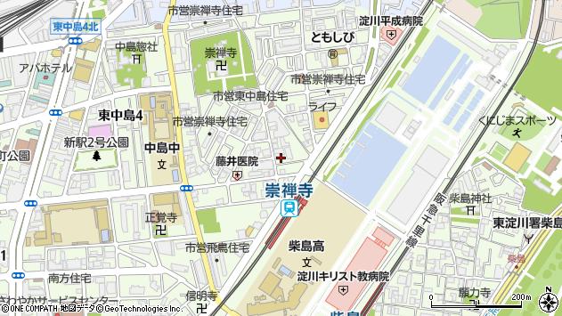 大阪府大阪市東淀川区東中島周辺の地図