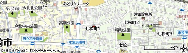 兵庫県尼崎市七松町1丁目周辺の地図