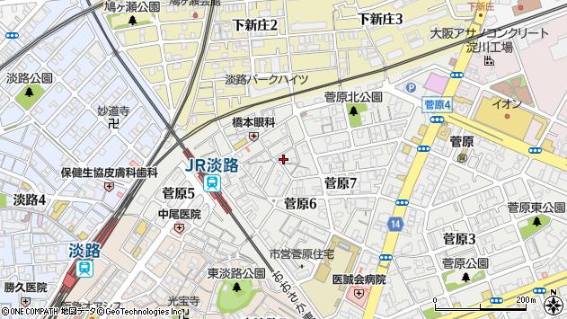 大阪府大阪市東淀川区菅原周辺の地図