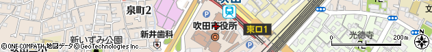 大阪府吹田市周辺の地図