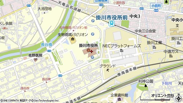 静岡県掛川市周辺の地図