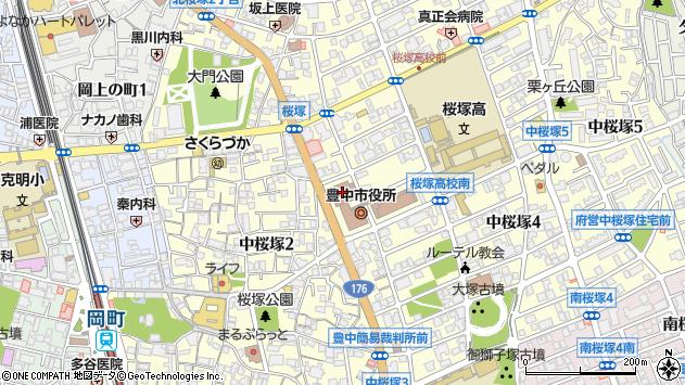 大阪府豊中市周辺の地図