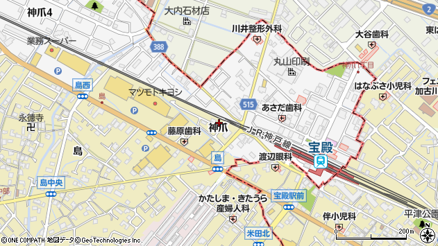兵庫県高砂市米田町神爪周辺の地図