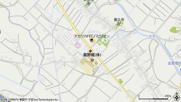 三重県津市高野尾町周辺の地図