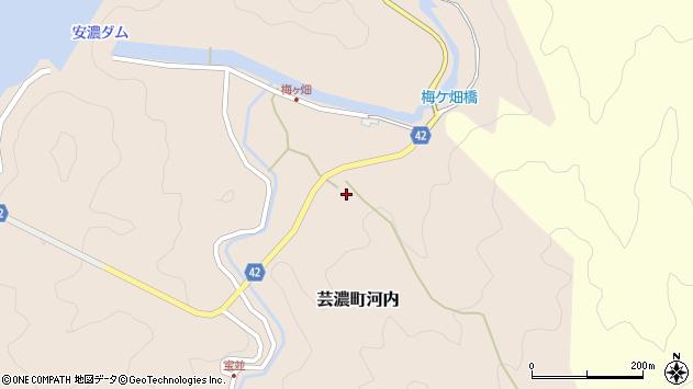 三重県津市芸濃町河内梅ケ畑周辺の地図