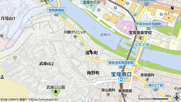 兵庫県宝塚市湯本町4-11周辺の地図