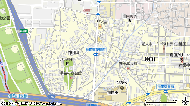 大阪府池田市神田周辺の地図