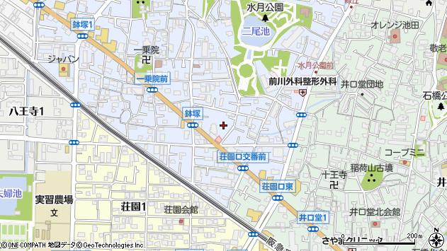 大阪府池田市鉢塚周辺の地図