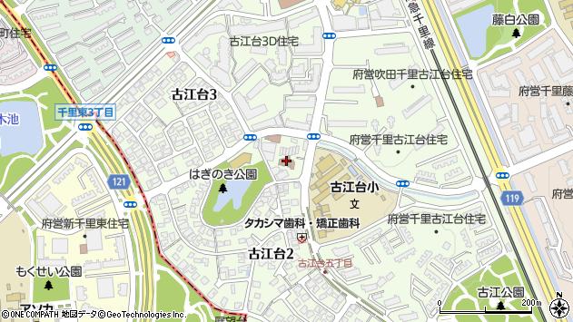 大阪府吹田市古江台周辺の地図