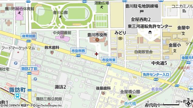 愛知県豊川市諏訪1丁目周辺の地図