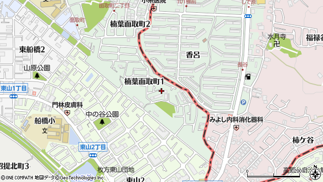 大阪府枚方市楠葉面取町1丁目周辺の地図