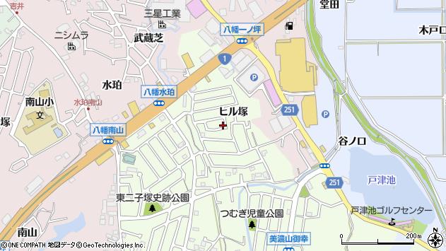 京都府八幡市美濃山ヒル塚周辺の地図