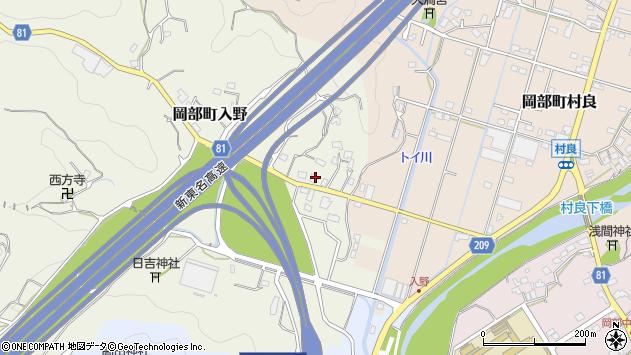 静岡県藤枝市岡部町入野周辺の地図