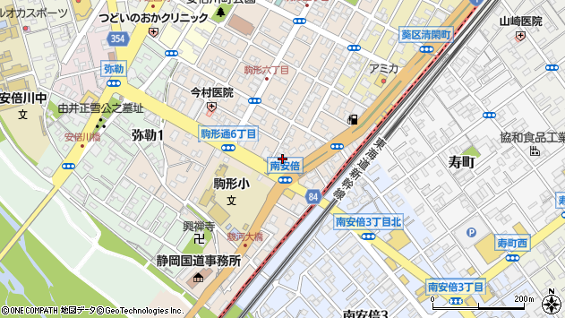 静岡県静岡市葵区南安倍1丁目周辺の地図