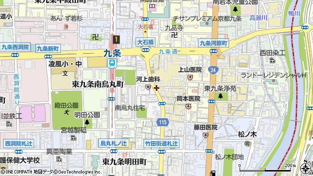 京都府京都市南区東九条中御霊町周辺の地図