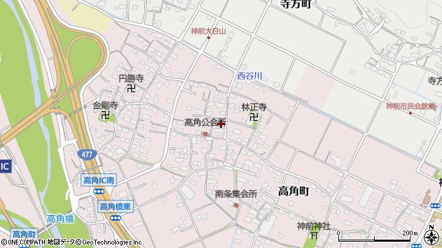 三重県四日市市高角町周辺の地図