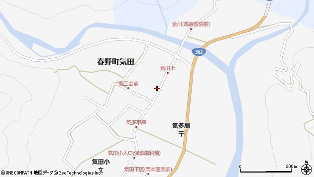 静岡県浜松市天竜区春野町気田周辺の地図