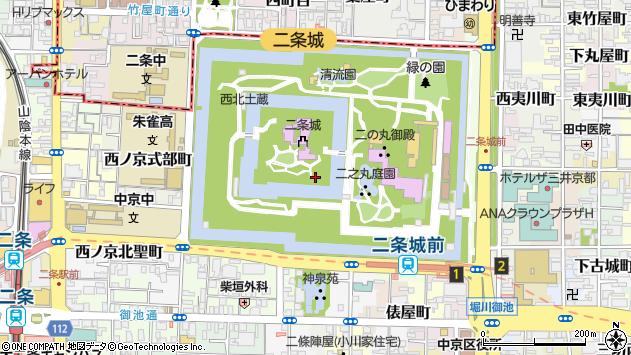 京都府京都市中京区二条城町 住所一覧から地図を検索