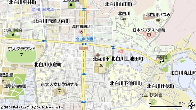 京都府京都市左京区北白川上別当町周辺の地図